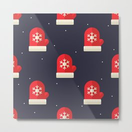 Red Christmas Gloves Pattern Metal Print