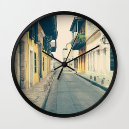 Summer Town (Retro and Vintage Urban, architecture photography) Wall Clock