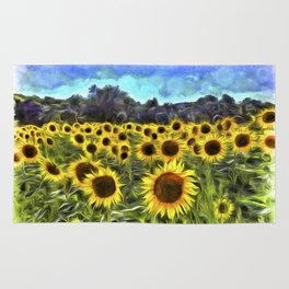 Sunflower Field Vincent Van Goth Rug
