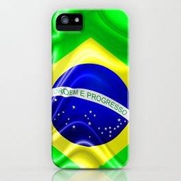 Brazil Flag Waving Silk Fabric iPhone Case