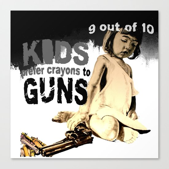 KIDS prefer crayons - black version Canvas Print