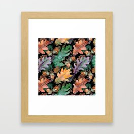 Colorful Woodland Watercolor Oak And Acorn Pattern Framed Art Print