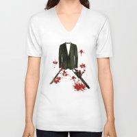 smoking V-neck T-shirts featuring Smoking kills! by Bojan Bundalo