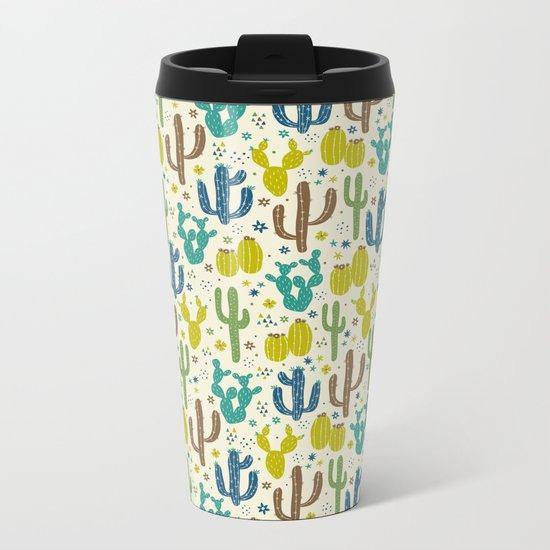 Prickly Cactus (Greens) Metal Travel Mug