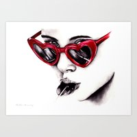 lolita Art Prints featuring Lolita  by Bella Harris