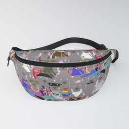 Big Dog Weim Nation Grey Ghost Weimaraner Hand-painted Pet Pattern on Pink Fanny Pack