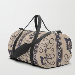 Happy halloween black cat and web with spider pattern Duffle Bag