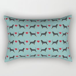Coonhound love hearts valentines day cute dog breed gifts for coonhounds Rectangular Pillow