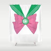 sailor jupiter Shower Curtains featuring Galactic Sailor Jupiter Bow by Valentina Cariel