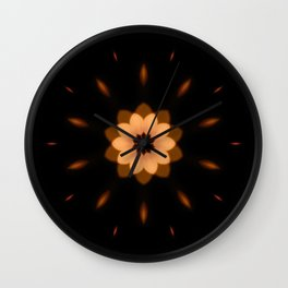 Fall Bronze Flower Mandala Design Wall Clock