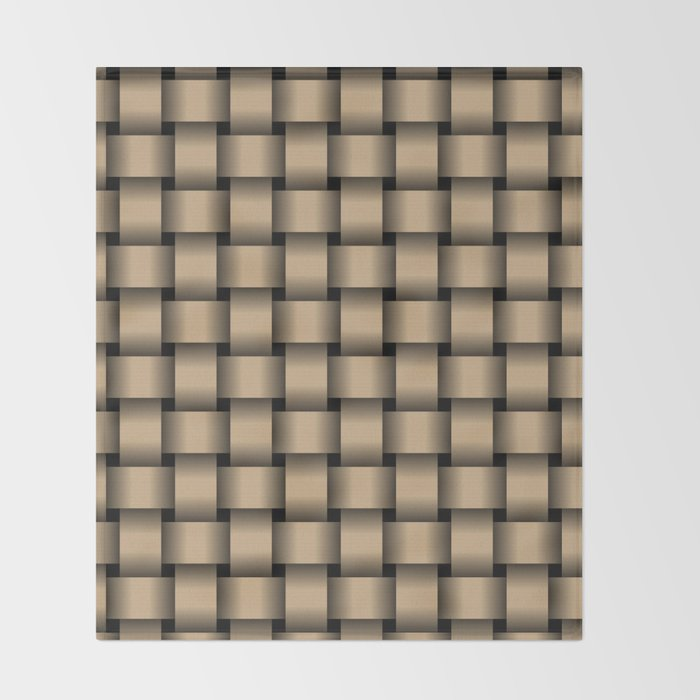 Tan Brown Weave Throw Blanket