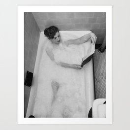 A Good Book and a Bath, female form black and white photography / photograph Art Print