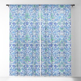 William Morris Hyacinth Print, Cobalt and Navy Blue Sheer Curtain