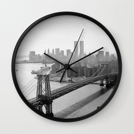 Williamsburg Bridge, East River at South Sixth St. & Twin Towers, New York City skyline photograph Wall Clock