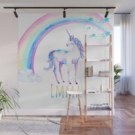 Unicorn and Rainbows White Wall Mural