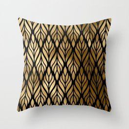 Havana Sultry Night Gold and Black Art Deco Throw Pillow