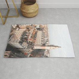 French Houses And Church From Above Photo | City Of Lille Art Print | France Europe Travel Photography Rug