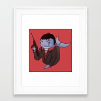 scarface Framed Art Prints featuring Scarface Whale by CoolBreezDesigns
