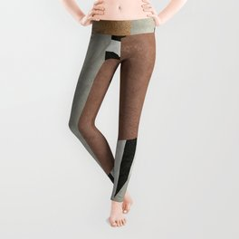 Abstract Geometric Composition in Copper, Brown, Black Leggings