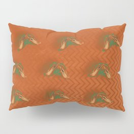 Butterflies in formation on orange rust chevrons and texture Pillow Sham