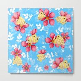 Floral Fish Metal Print