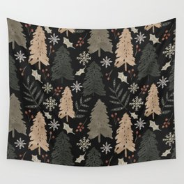 Winter in the Woods Dark Background  Wall Tapestry