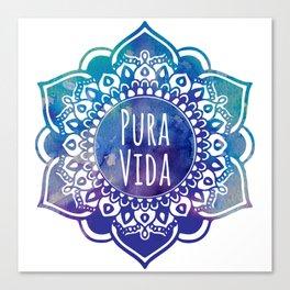 Pura Vida Watercolor Mandala Canvas Print