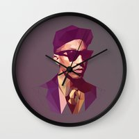 hip hop Wall Clocks featuring Hip hop poly by Breno Bitencourt