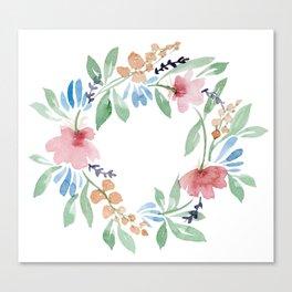 Vintage Tropical Flower Wreath Canvas Print
