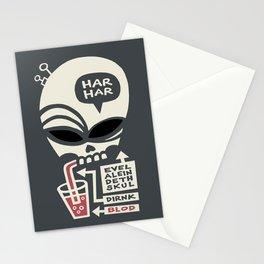 Evel Alein Deth Skul Dirnk Blod Stationery Cards