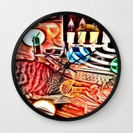 Color Chrome Chanukah Cat Wall Clock
