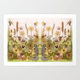 Pink Garden mirrored Art Print