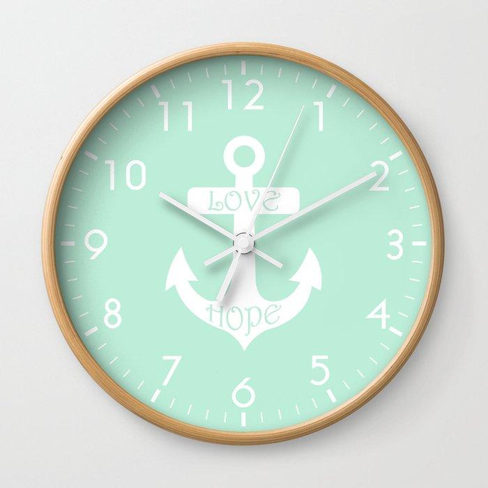 Love Hope Anchor Mint Green Wall Clock