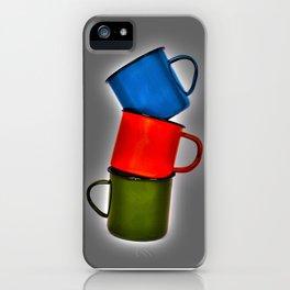 Vintage green, blue, red enamel mugs in modern look iPhone Case