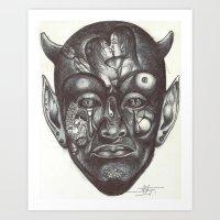 evil Art Prints featuring Evil by Mondésir Arly
