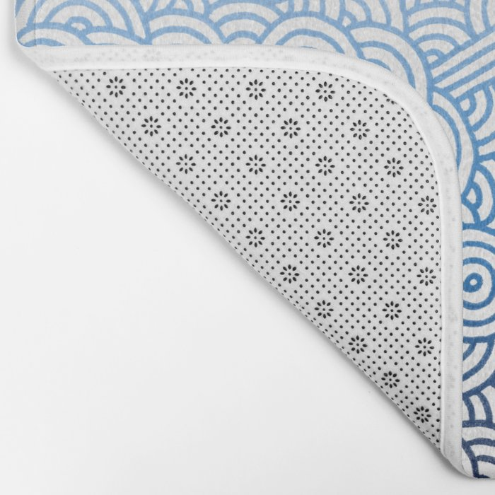 Gradient blue and white swirls doodles Bath Mat