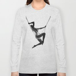 Nude Woman Suspended On Silk Black On White Long Sleeve T-shirt