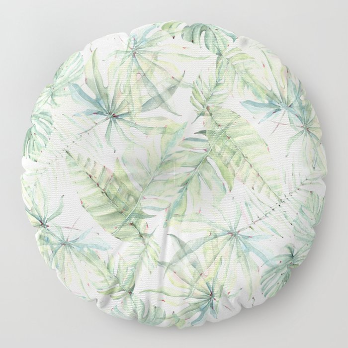 Green Tropical Leaves Floor Pillow