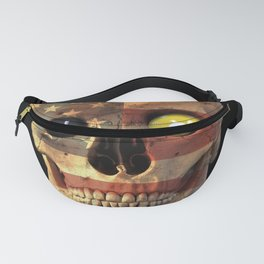Pool Billiard Snooker Design - Skull with US flag Fanny Pack