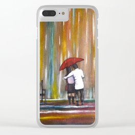 Love in the Rain romantic painting by Manjiri Kanvinde Clear iPhone Case