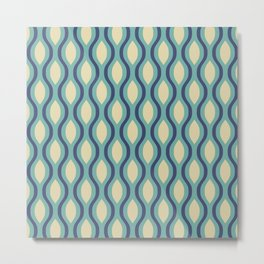 Retro Ogee Pattern 442 Blue Beige and Turquoise Metal Print