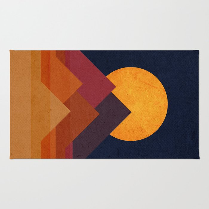 Full moon and pyramid Rug