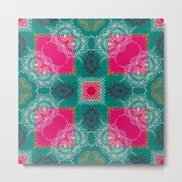 Indian Inspiration In Pink and Green Metal Print