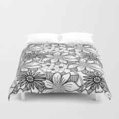 Black and White Floral Drawing Duvet Cover