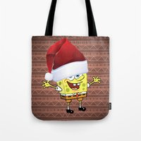 spongebob Tote Bags featuring Spongebob Celebration by Arteresting Shop