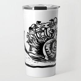 Mushroom Snail Linocut Travel Mug