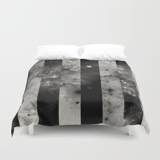 Stripes In Space - Black and white panel effect space scene Duvet Cover