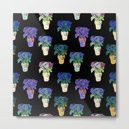 Gorgeous patterned floral beaded sculpture print by Annalee Beer Metal Print