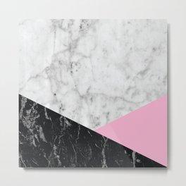 White Marble Black Granite & Pink #632 Metal Print
