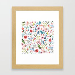 Cute colorful botanical flowers and leafs pattern Framed Art Print